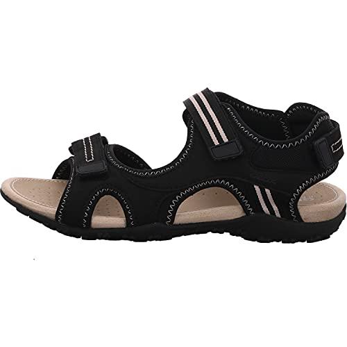 Geox Mujer Sandalias de Vestir Donna Sandal STREL, señora Sandalias de Exterior,Sandalias Deportivas,Zapatos de Verano,Schwarz,39 EU / 6 UK