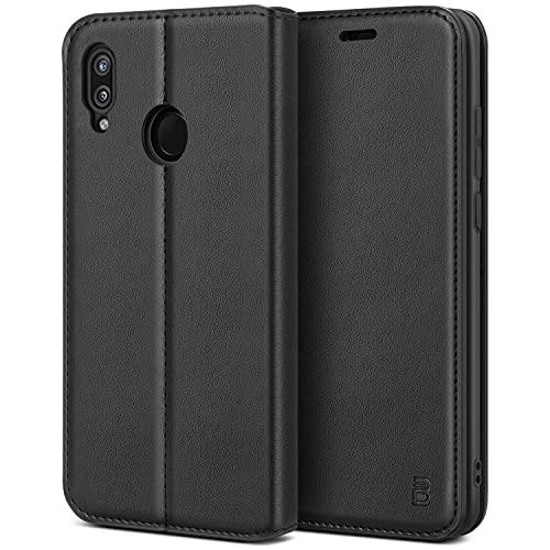BEZ Hülle für Huawei P20 LiteHülle, Handyhülle Kompatibel für Huawei P20Lite Tasche, Case Schutzhüllen aus Klappetui mit Kreditkartenhaltern, Ständer, Magnetverschluss, Schwarz
