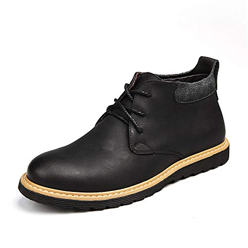 Best Walking Shoes for Men Chukka Boot for Men Desert Ankle Shoes Pull On Style Genuine Leather Outdoor Traveling Hiking Head Leather Soft Anti-Slip Driving Shoes (Color : Black, Size : 7 M US)