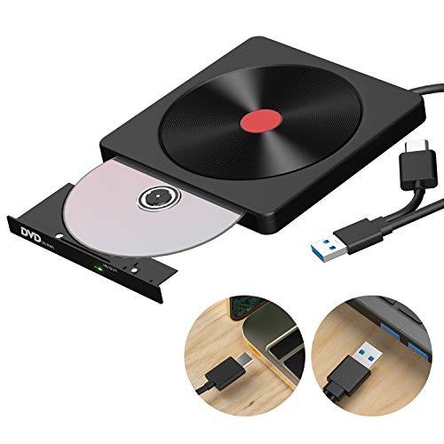 Externes CD DVD Laufwerk, USB 3.0 & Typ C Dual Port - AMIGIK Tragbarer Optical Burner CD DVD +/-RW ROM für Laptop, Desktop, Mac, MacBook, Win 10/8/7/XP, Linux, MacOS, Vista7/8