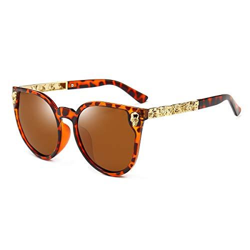 Dollger Rimless Skull Design Cat Eye - Gafas de sol con protección UV400, (Monture Léopard + Lentille Marron), Convient à toutes les formois de visage