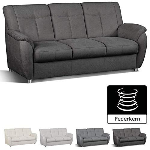 Cavadore 3- Sitzer Sunuma mit Federkern / Moderne 3 sitzige Sofagarnitur / Größe: 189 x 91 x 90 cm (BxHxT) / Farbe: Dunkelgrau
