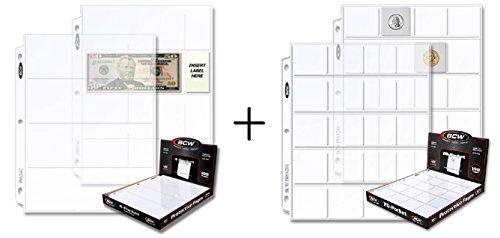 ( 24 Pcs Total ) – BCW Pro 4-Pocket Currency & 20-Pocket Storage Page – Dollar Bill & Currency Coin Collecting Organizer…