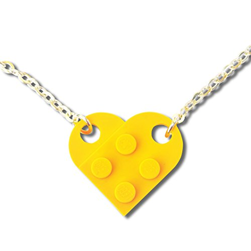 Lego® Herz, Halskette, Geschenk zur Hochzeit, für die Freundin, zum Valentinstag, gelb