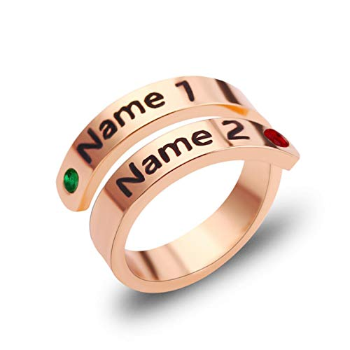 liuliu Engraved Birthstone Ring Stainless Steel Married Rings For Couples Jewelry Got Married Eternal Love Wedding Gifts