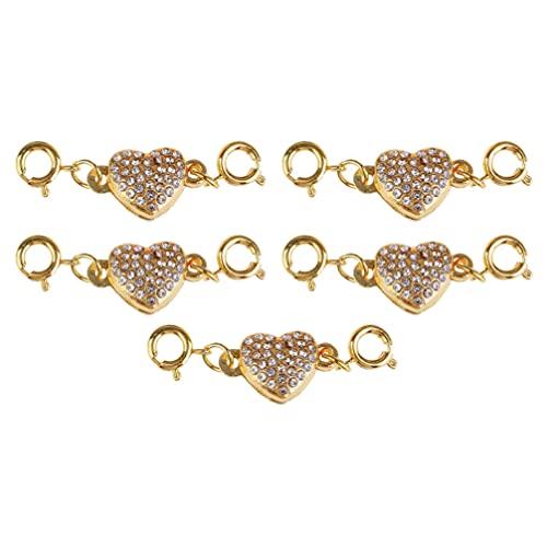 Artibetter 5 Piezas de Conector de Collar de Corazón de Acero Inoxidable Eslabones de Corazón de Oro Rosa Conector de Dijes para Pulseras Collares de Tobillera Pendientes Colgantes para