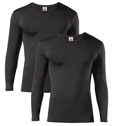 LAPASA Men's Lightweight Thermal Underwear Tops Fleece Lined Base Layer Long Sleeve Shirts 2 Pack M09 (X-Large, Black)