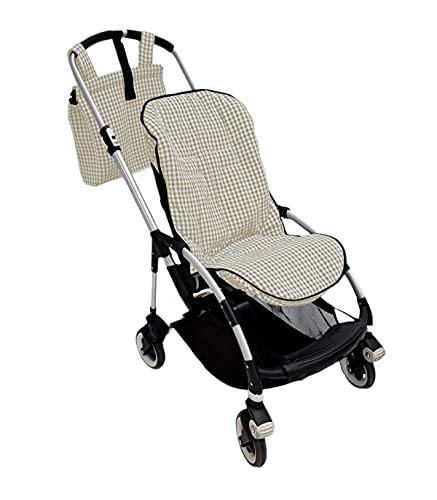 Conjunto colchoneta o funda y bolsa panera para silla carrito Bugaboo Bee. Vichy (Arena)
