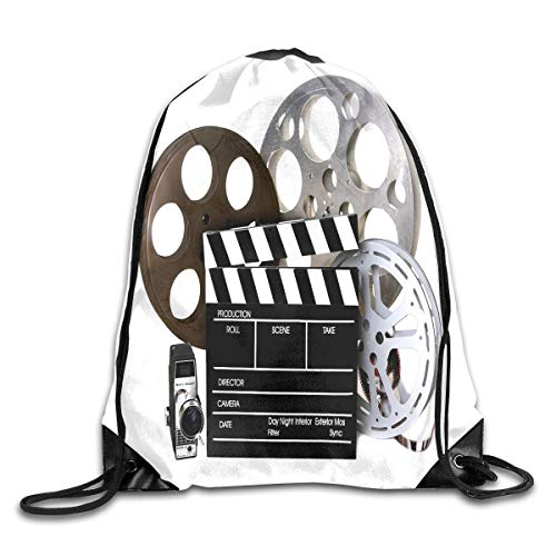 Drawstring Backpack Gym Bag Travel Backpack Vintage Movie Clapboard Tape Small Drawstring Backpacks Women Men Adults,Drawstring Bag Sport Gym Backpack Gym Bag for Men and Women