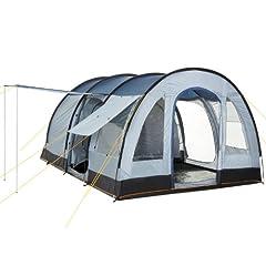 Campingtent CampFeuer voor 4 personen | Grote familietent met 3 ingangen en 5.000 mm waterkolom | Tunneltent | blauw/grijs | Groepstent | Zo is kamperen leuk!*