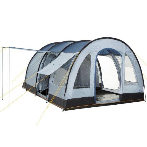 CampFeuer Campingzelt für 4 Personen | Großes Familienzelt mit 3 Eingängen und 5.000 mm Wassersäule | Tunnelzelt | blau/grau | Gruppenzelt | So Macht Camping Spaß!