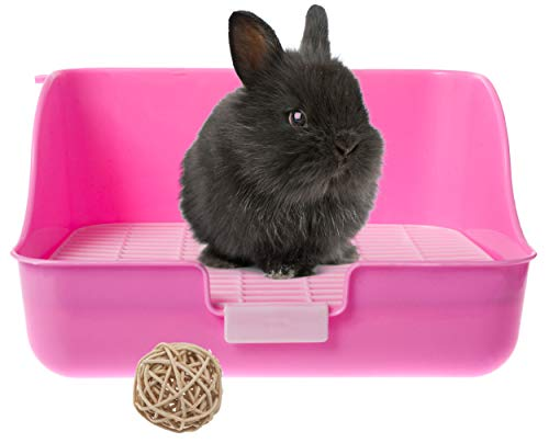 Silvergent Kaninchenkäfig Kaninchen toilette Ecktoilette Ecke Katzenklo Töpfchen mit Gitter für das Töpfchentraining (Rosa), komplett mit Naturweidenball Kauspielzeug für kleine Tiere
