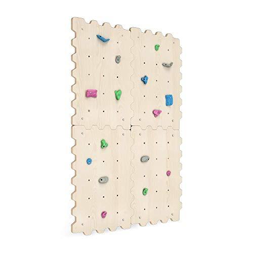 Kletterwand Indoor für Kinder mit Griffe | Nachhaltig Kinder Kletterwand aus natürlichem Holz | Kletterwand Kinderzimmer minimalistisches Design Pastellfarben | 100{85eb0f4ca17509f6f599d42bdf30e9357a70b0b200f99b35c2db9247bfb6312a} ECO | Made in EU (4 Module)