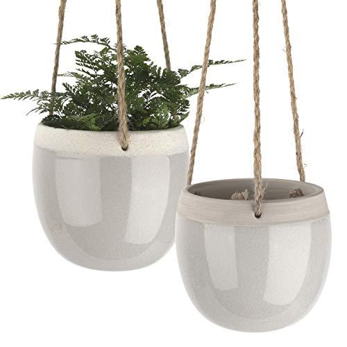 Macetas ceramica, macetas colgante, maceteros interior, macetas para suculentas, Jardineras con cuerda de yute, Gris, Set 2