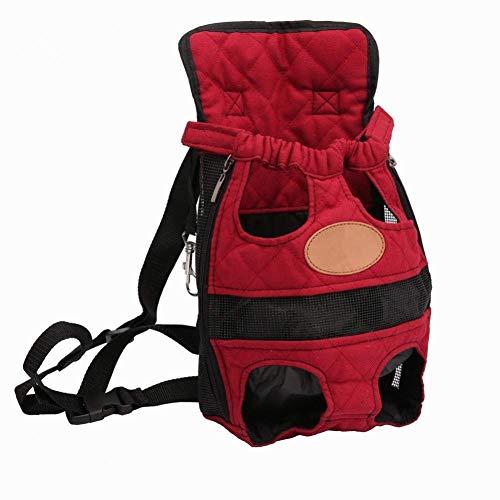 PULLEY Mochila de transporte para mascotas ajustable, segura y segura, con patas de cabeza livianas, con las manos libres para viajar, senderismo, camping (S/M/L, rojo) Tamaño: XL (41 x 24 cm)
