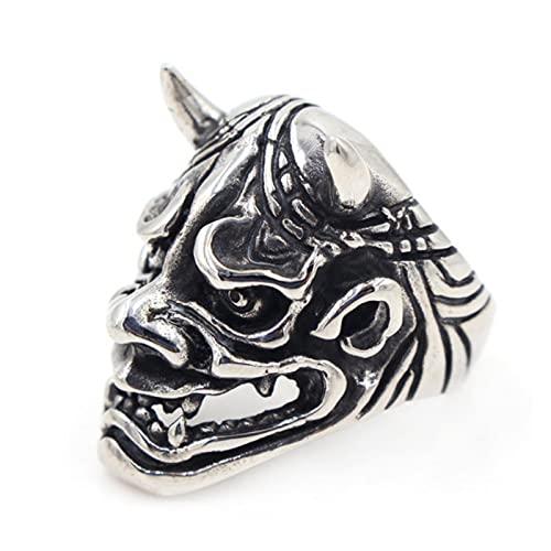 Retro japonés fantasma cráneo anillos para hombres único acero inoxidable Prajna de Japón cráneo anillo masculino pesado azúcar joyería accesorios