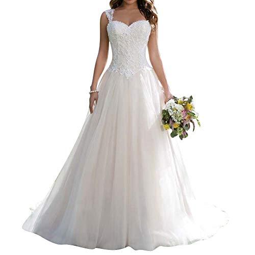 Brautkleid Hochzeitskleider Lang Prinzessin Brautmode Tüll Herzausschnitt A-Linie Elfenbein EUR38