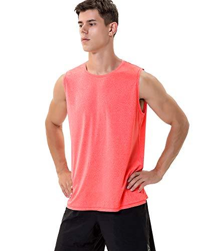 Herren-T-Shirt, ärmellos, feuchtigkeitstransportierend, Sport-Tanktop Gr. L, Fiery Coral Heather