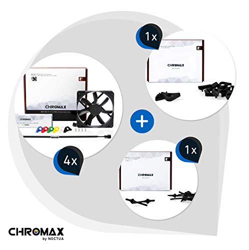 Chromax Bundle Nero: 4x Noctua NF- NF-S12A PWM chromax.black.swap, Ventola 4-Pin (120mm) + NA-SAVP1 / NA-SAV2 chromax.black