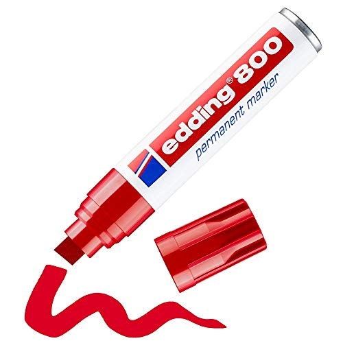 Edding 800 marcador permanente - rojo - 1 rotulador - punta biselada 4-12 mm - para marcas llamativas - resistente al agua, secado rápido, indeleble - para cartón, plástico, madera, metal, vidrio