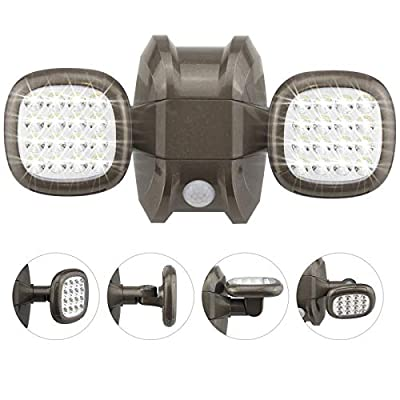 HONWELL Motion Sensor Light Outdoor Battery Operated Outside Security Flood Light Wireless IP65 Waterproof 32 LED Dual Head Spotlights, Motion Detector Lights for House Garage Porch Garden Shed