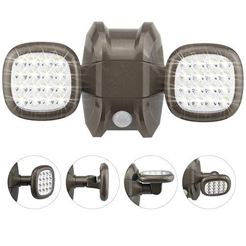 HONWELL LED Außen Sicherheitsbeleuchtung, Wasserdicht IP65 Drahtlose Sicherheitslicht, 600 Lumen Bewegungsmelder Batterie Aussenstrahler, Wandleuchte Außenleuchten für Garten, Hof und Garage, Bronze