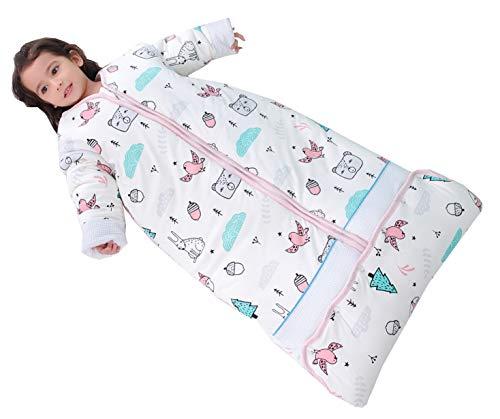 Chilsuessy Winter 2.5 Tog Kinder Schlafsack mit abnehmbaren Ärmeln Bio Babyschlafsack für Jungen und Mädchen von 1 bis 10 Jahre alt (XL/Koerpergroesse 130-150cm, Rosa Wald)