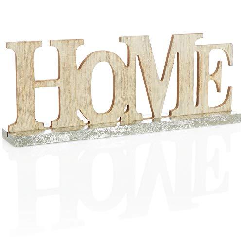 com-four Soporte Decorativo con Aspecto de Madera - Letras Home en la Base de Madera - Letras Decorativas para Colocar en el...