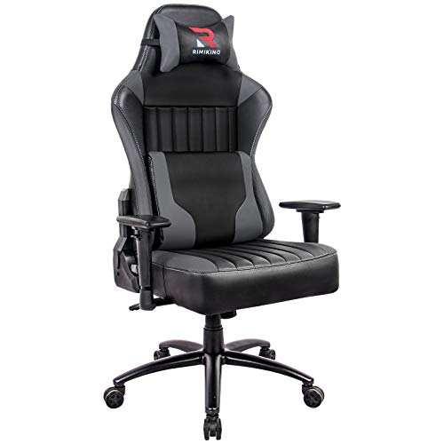 Generic Big and Tall 400lb Memory Foam Gaming Chair-Adjustable Tilt, Angle and 3D Arms Ergonomic High-Back Leather Racing Executive Computer Desk Office Metal Base (Grey)