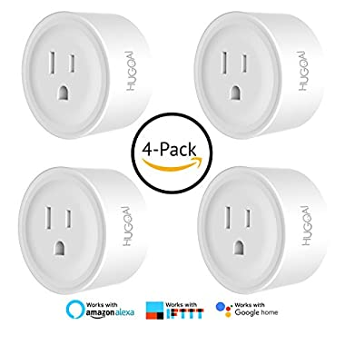 HUGOAI WiFi Smart Outlet, Mini Smart Plug 4 Pack, Compatible with Alexa & Google Home/IFTTT, APP Remote Control from Anywhere, No Hub Required, WiFi Enabled Voice Control Smart Socket