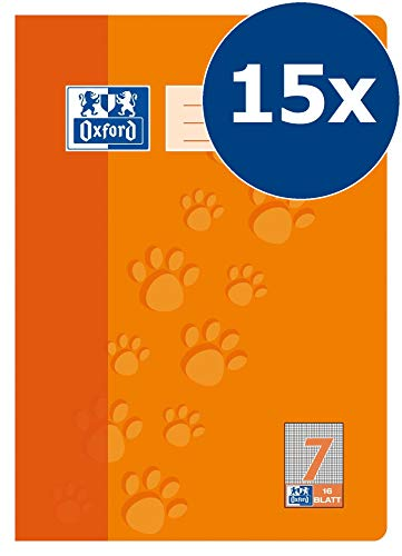 Oxford 100050403 - Quaderno scolastico, A4, lineatura 7 a quadretti, 7 mm, 16 fogli, carta ottica 90 g/m², confezione da 15 pezzi, colore: Arancione