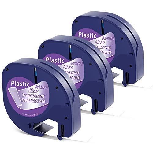 Aken kompatibel Etikettenband als Ersatz für Dymo Letratag Etikettenband Transparent, Dymo Clear Plastic 12mm x 4m Schwarz auf Transparent Band (Dymo Transparent) für Dymo LT-100H LT-100T Letratag XR