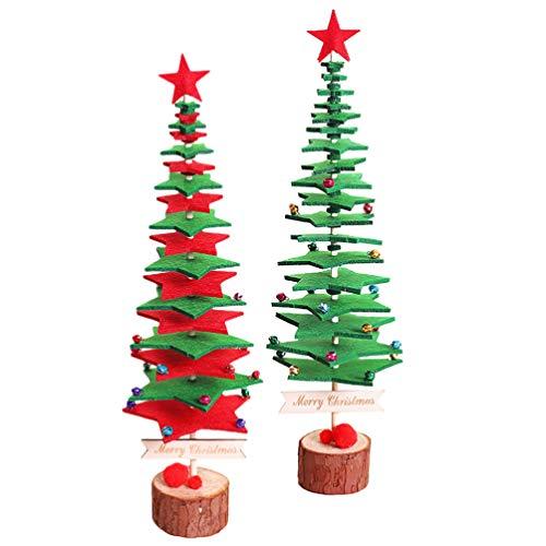 MILISTEN 2 Juegos de Fieltro Árbol de Navidad Diy Árbol de Navidad de Mesa con Bases de Madera Adorno de Escritorio de Vacaciones para Decoración de Fiesta de Navidad
