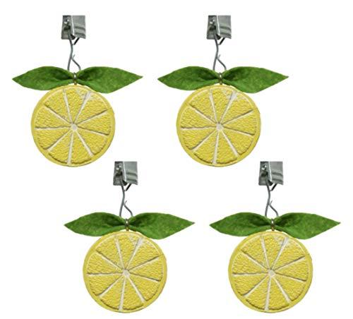 Tischdeckenbeschwerer mit Clips, Motiv Zitrusfrüchte, Zitrusfrüchte, 7,5 cm, Gelb/Grün, 4 Stück zitronengelb