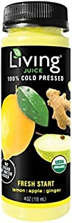 O2 Living Juice Fresh Start Organic Cold-Pressed Shot, No Sugar or Water Added, Made with Lemon, Apple, and Ginger, Loaded with Nutrients, Vitamins, Enzymes, and Minerals (8-Pack)
