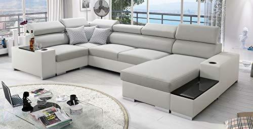Großes Ecksofa mit Schlafffunktion XXL Couch Bettkasten Weiß Grau Wohnlandschaft Porte Abstellfläche Polstersofa Big Sofa 26 (Rechts)
