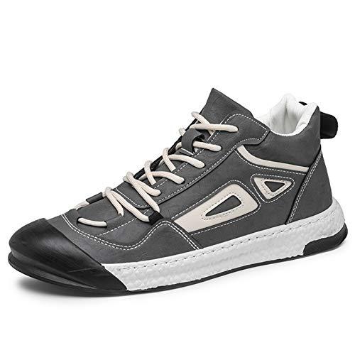 Botas De Combate for Hombres High Top Boot Lace up PU Cuero Split Joint Tiempo Frío Al Aire Libre Impermeable Mantener Caliente (Color : Gray, Size : 41EU)