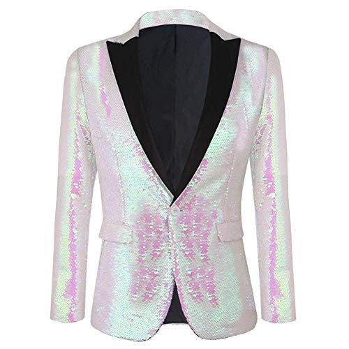Allthemen Herren Blitzende Smokingjacke Glitzer Pailletten Sakkos mit Schalkragen Weiß+Pink X-Large