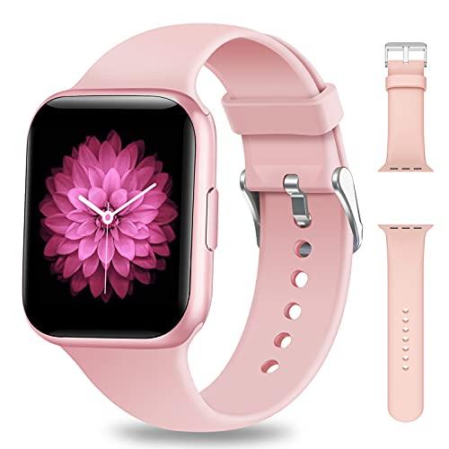 NAIXUES Smartwatch Damen 1.54 Zoll Smart Watch IP68 Wasserdicht Fitness Tracker Uhr Fitnessuhr Armbanduhr mit Pulsmesser Schlafmonitor Aktivitätstracker Schrittzähler Stoppuhr für iOS Android Rosa