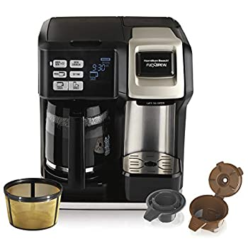 Hamilton Beach FlexBrew Trio 2-Way Single Serve Coffee Maker & Full 12c Pot Compatible with K-Cup Pods or Grounds Combo Silver