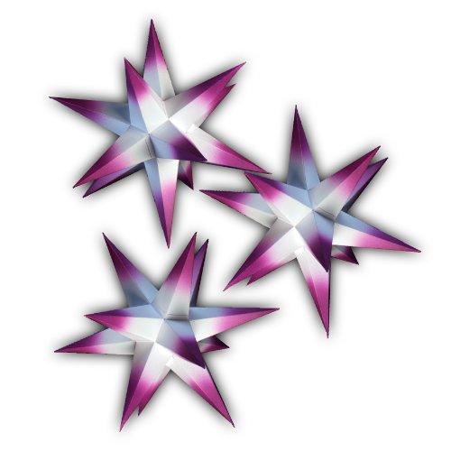 3er Set leuchtende Weihnachtssterne (Papier) 3D Netzteil 3fach-Verteiler, 19 cm handgefertigt, für Innenbereich (Spitzen lila)