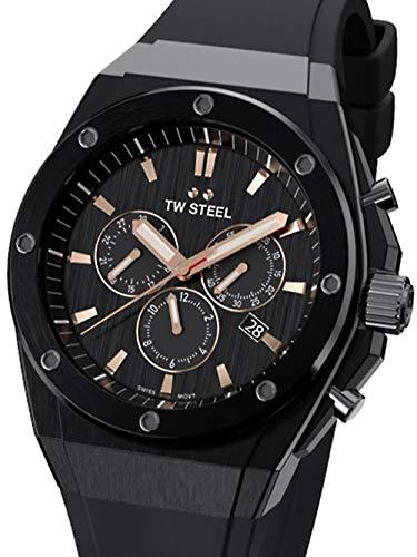 TW Steel   CEO tech   Limitierte Auflage   Chronograph   schwarzer Gummi   CE4044