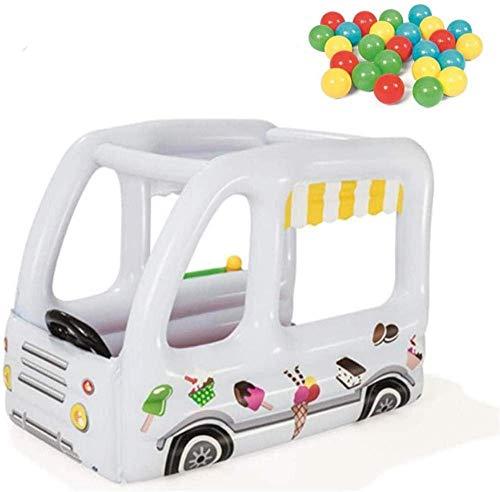 Castillos inflables Casa de Juguetes para niños Casa de Helados con 10 Ocean Ball y Bomba eléctrica para jardín Interior y Exterior Parque Infantil