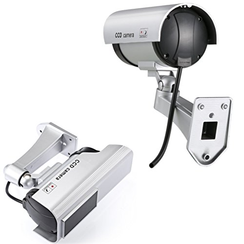 Relee Bullet Dummy Fake Surveillance Camera Security CCTV Dome Camera Outdoor with Solar Panel and Battery