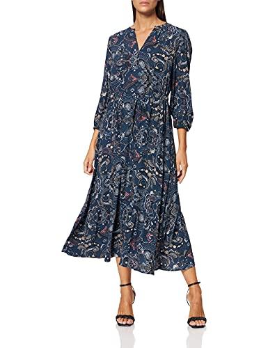 TOM TAILOR Damen Maxi Kleid, Mehrfarbig (27873 - Blue Apricot Paisley Design), 46