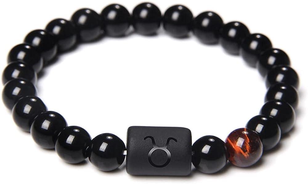 Pingyongchang 8MM Star Sign Constellation Horoscope Beaded Bracelet Zodiac Natural Black Onyx Stones Beads Bracelets for Men Women Girls Boy Birthday Gifts