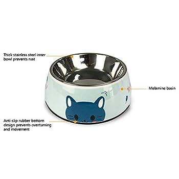 Bol pour Animaux Pet Bol en Acier Inoxydable Amovible Gamelle légère Double Gamelle Convient for Animaux Petites et Moyennes (Color : Pink, Size : M)