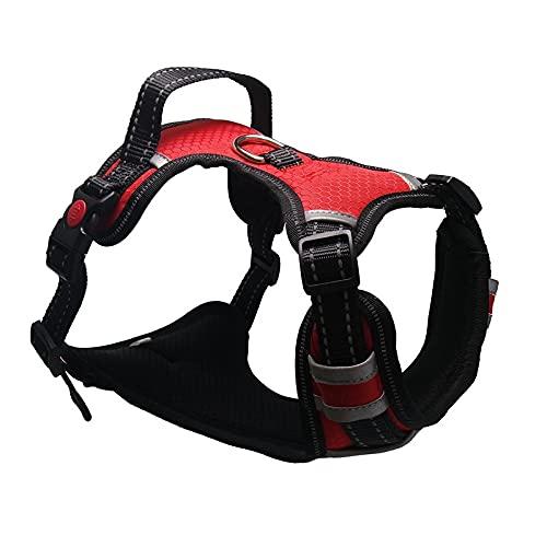 Arnés para perros Harness Breathable No Pull Small Medium Large Dog Vest Adjustbale Matching Leash Collar Reflective Pet Training Supplies Arnés para gatos (Color : Red, Size : L (Chest 53-94cm))