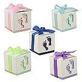 MINGZE 50Pcs Cajas de Papel de Caramelo, Huella Cajas Papel Baby Shower Cajas de Favor para niño cumpleaños Fiesta Bautizo Bautismo recién Nacido Invitados de Boda Fiesta Comunion o Bautizo
