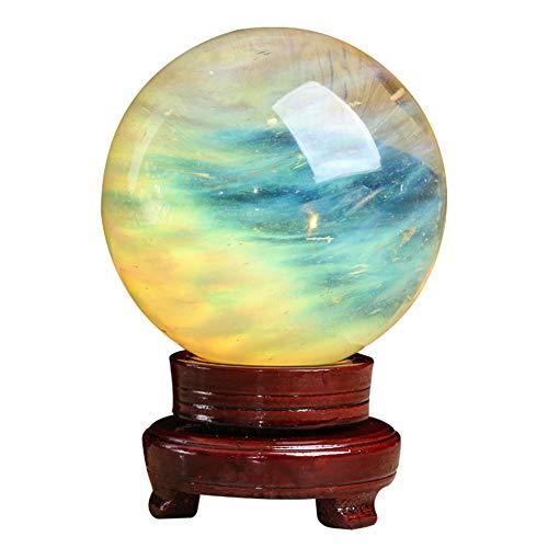 J.Mmiyi Citrina Bola De Cristal Feng Shui Adorno Meditation Healing Divination Sphere Decoration, Atrayendo Riqueza Y Buena Suerte Regalo,8CM